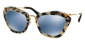Miu Miu MU 10NS HAO4N0 LIGHT BLUE MIRROR SILVERSAND HAVANA/SAND DK BROWN